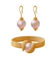 set of jewelry items golden earrings with pearls vector image