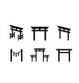 set of torii icon in silhouette style vector image vector image