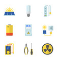 solar power icons set flat style vector image