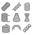 spiral flexible spring icons set on white vector image vector image