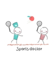 Sports doctor plays with a man in badminton apple vector image vector image