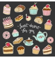 Sweet dessert for you hand lettering and cakes vector image vector image