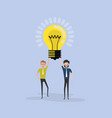 team of happy young men icon with light bulb vector image