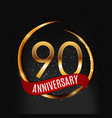template gold logo 90 years anniversary with red vector image vector image