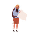 tourist traveling with backpack hiker looking for vector image