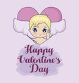 valentine day card with cupid vector image vector image