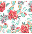 vintage seamless pattern with blooming flowers vector image vector image