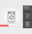 washing machine line icon with editable stroke vector image