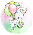 watercolor cute white bunny flying with balloons vector image