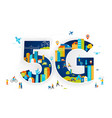 5g flat people with mobile vector image vector image
