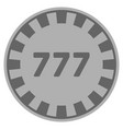 777 silver casino chip vector image