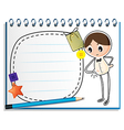 A notebook with a sketch of a boy watching his vector image vector image