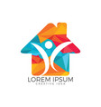 abstract happy human home logo design vector image vector image