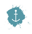 anchor on blue paint spots isolated on white vector image