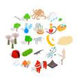 animality icons set isometric style vector image vector image