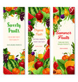 banners set of fresh summer fruits vector image vector image