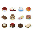 cakes layered puff tiered pastry icons set vector image vector image