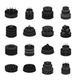 Cakes set icons in black style Big collection of vector image vector image