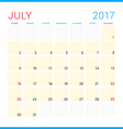 Calendar Planner for 2017 Year Flat Design vector image vector image