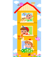 Cartoon building with cutte children vector image vector image