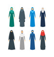 cartoon color middle east women religious apparel vector image vector image