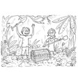 cartoon coloring book with boy and girl found a vector image
