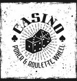 casino emblem with gambling dice vector image vector image