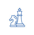 chess pieces knight and queen line icon concept vector image