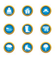 chilly icons set flat style vector image vector image