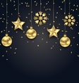 Christmas Dark Background with Golden Balls Stars vector image vector image