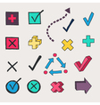 Colorful check marks and check boxes drawn vector image vector image