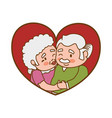 couple elder heart kiss vector image