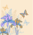 Decorative background with flowers and butterflies vector image vector image