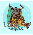 dressed bull hand drawn beautiful vector image vector image