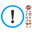 exclamation sign icon with love bonus vector image vector image