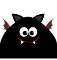 funny monster head silhouette with big eyes fang vector image vector image