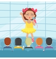 Girl Singing Song in Front of Audience vector image