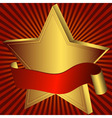 gold star with red ribbon vector image vector image