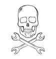 Hand Draw Skull with crossed wrenches vector image vector image