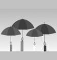 hands holding umbrellas isolated on transparent vector image