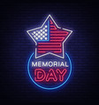 happy memorial day neon sign neon signboard vector image