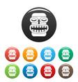 hawaii idol head icons set color vector image vector image