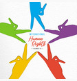 human rights day card of diverse people hands vector image