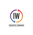 initial letter iw creative circle logo design vector image vector image