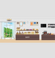 interior modern bakery shop with display vector image vector image