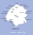 island of thassos in greece white map and blue vector image vector image