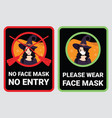no face mask entry to prevent covid-19 vector image vector image