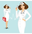 nurse with syringe and medicine chest vector image vector image