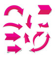 pink arrow sticker on white background vector image vector image