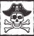 pirate skull in hat and two crossed bones vector image vector image